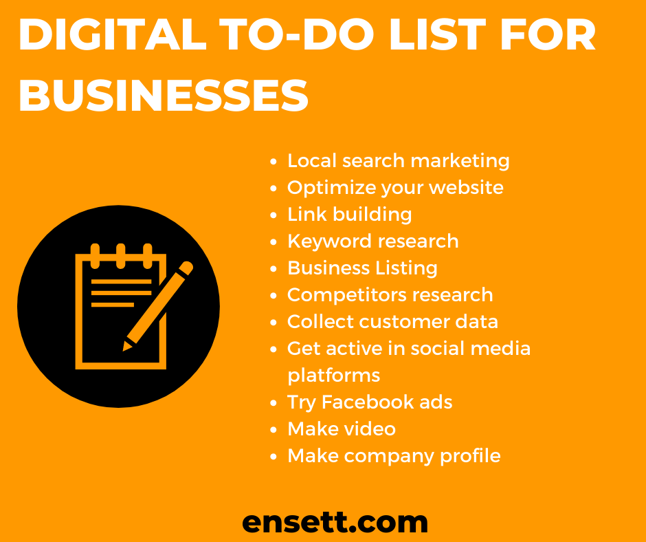 Digital To-do list for businesses as best marketing strategy