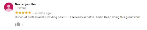 Jha- client feedback on SEO company in patna